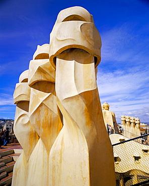 Gaudi architecture, chimneys, Casa Mila, La Pedrera, Barcelona, Catalonia (Cataluna) (Catalunya), Spain, Europe