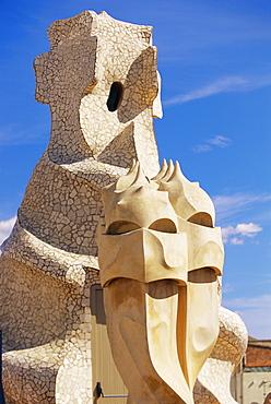 The bizarre chimneys of Gaudi's Casa Mila, La Pedrera, Barcelona, Catalonia (Catalunya) (Cataluna), Spain, Europe
