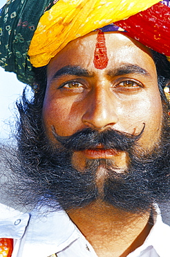 Portrait of a candidate for Mr. Desert annual competition, Bikaner Desert Festival, Rajasthan state, India, Asia