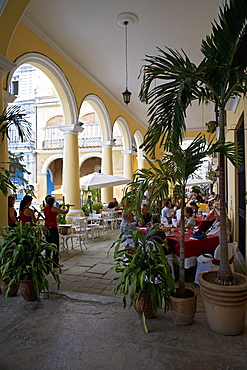 Female reed trio playing to diners at the Santo Angel restaurant, Plaza Vieja, Old Havana, Cuba, West Indies, Central America