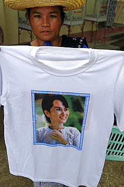 T-shirt decorated with the portrait of Aung San Suu Kyi, Burmese opposition politician and chairperson of the National League for Democracy, awarded the Nobel Peace Prize in 1991, Republic of the Union of Myanmar (Burma), Asia