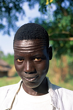 Head and shoulders portrait of a Nuer man with forehead scarification, Itang region, Ilubador state, Ethiopia, Africa