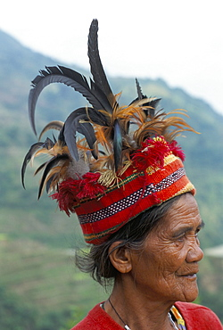 Ifugao man in headdress decorated with feathers, northern area, island of Luzon, Philippines, Southeast Asia, Asia