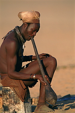 Himba married man in traditional dress, Kaokoland, Namibia,