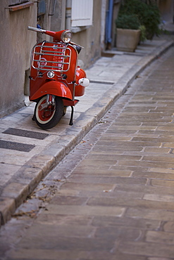 Red scooter, St. Tropez, Provence, France, Europe