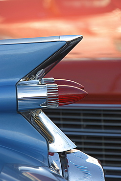 Blue and red cars, Los Angeles, California, United States of America, North America