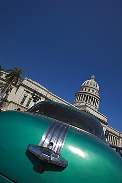 Green car at Capital Building, Havana, Cuba, West Indies, Central America