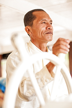 River Boat Captain, Mekong River, Laos, Indochina, Southeast Asia, Asia