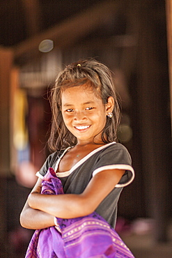 Girl in remote village, Laos, Indochina, Southeast Asia, Asia