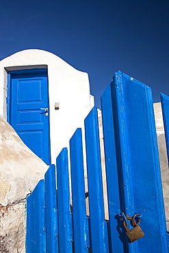 Blue gate, Oia, Santorini, Cyclades, Greek Islands, Greece, Europe