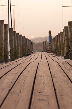 Pier on Derwent Water, Keswick, Lake District National Park, Cumbria, England, United Kingdom, Europe