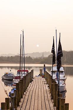 Pier on Derwent Water, Lake District National Park, Cumbria, England, United Kingdom, Europe