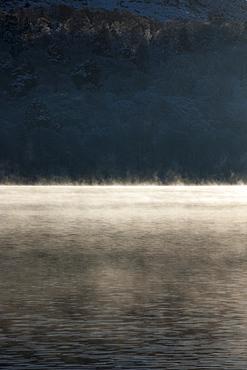 Mist on Coniston Water, Lake District National Park, Cumbria, England, United Kingdom, Europe