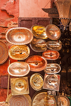 Copper sinks in the Medina, Marrakech, Morocco, North Africa, Africa