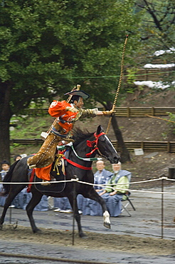 Traditional costume and horse, ceremony for archery festival, Tokyo, Japan, Asia