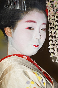 Maiko, trainee geisha, entertaining at dinner, Kyoto, Japan, Asia