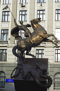 George and the Dragon, Equestrian Monument, Old Town, UNESCO World Heritage Site, Lviv, Ukraine, Europe