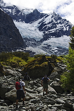 Hikers approaching Rob Roy Glacier, Mount Aspiring National Park, Otago, South Island, New Zealand, Pacific