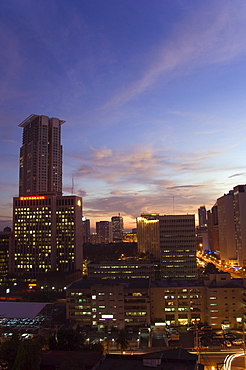 City skyline at sunset, Makati Business District, Manila, Philippines, Southeast Asia, Asia