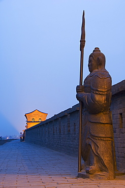 Ornamental guard on the last remaining intact Ming Dynasty city wall in China, Pingyao (Ping Yao), UNESCO World Heritage Site, Shanxi Province, China, Asia