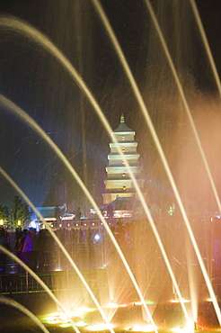 Night time water show at the Big Goose Pagoda Park, Tang Dynasty, built in 652 by Emperor Gaozong, Xian City, Shaanxi Province, China, Asia