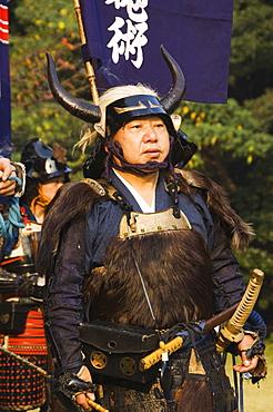 Samurai costume battle reenactment, Harajuku District, Tokyo, Honshu Island, Japan, Asia