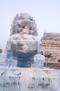 A traditional Chinese lion ice sculptures at the Ice Lantern Festival, Harbin, Heilongjiang Province, Northeast China, China, Asia