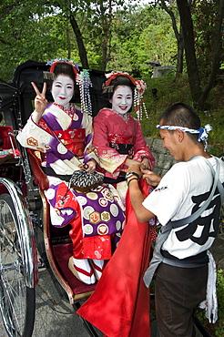Geisha maiko (trainee geisha) in costume, Kyoto city, Honshu island, Japan, Asia