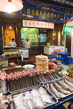 Barbeque food at a street market in the Muslim area of Xian, Shaanxi Province, China, Asia