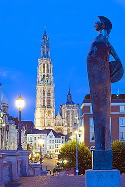 Night illumination, tower of Onze Lieve Vrouwekathedraal, Antwerp, Flanders, Belgium, Europe