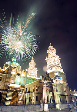 Firework display over the Cathedral, Morelia, UNESCO World Heritage Site, Michoacan state, Mexico, North America