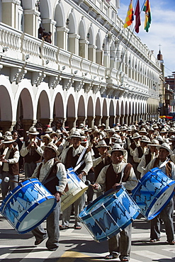 Musicians drumming at Anata Andina harvest festival, Carnival, Oruro, Bolivia, South America