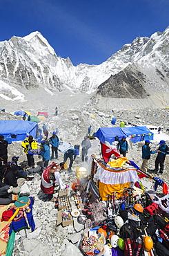 Puja ceremony, Everest Base Camp, Solu Khumbu Everest Region, Sagarmatha National Park, UNESCO World Heritage Site, Nepal, Himalayas, Asia