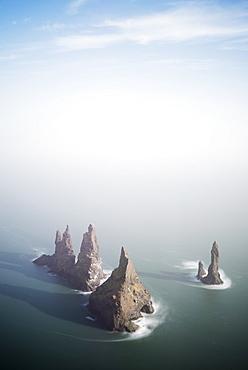 Rock stacks off the coast at Reynisdrangar, Vik, Southern Region, Iceland, Polar Regions