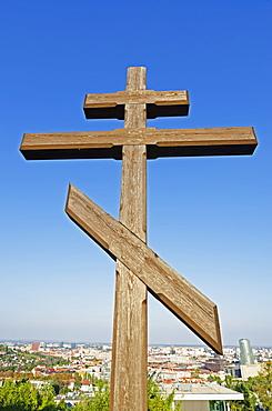 Cross at Slavin Memorial, Bratislava, Slovakia, Europe