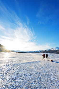 Ski touring on Kungsleden (The Kings Trail) frozen lake, Abisko National Park, Helsinki, Finland, Scandinavia, Europe