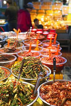 Kimchi pickled vegetables, Dongmun traditional market, Jeju Island, South Korea, Asia