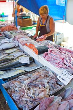 Sunday fish market, Marsaxlokk harbour, Malta, Europe