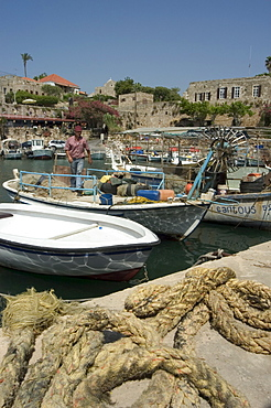 Boats in old port harbour, Byblos, Lebanon, Middle East