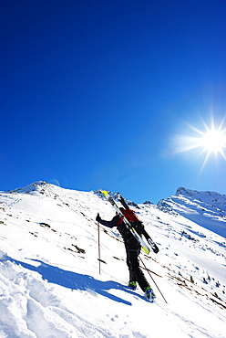 Ski touring near Martigny at Col de la Forclaz, Valais, Swiss Alps, Switzerland, Europe