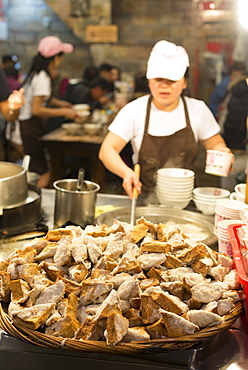 Stinky tofu in under cover market, Jiufen, Taiwan, Asia