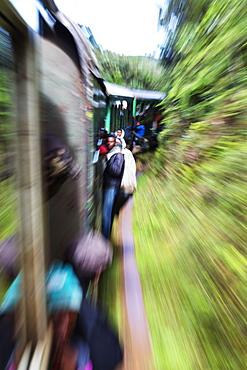 Passengers on the Fianarantsoa to Manakara FCE train, eastern area, Madagascar, Africa