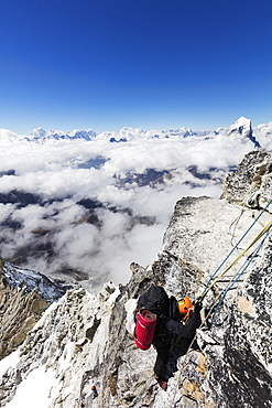 Climber on the Yellow Tower of Ama Dablam, Sagarmatha National Park, UNESCO World Heritage Site, Khumbu Valley, Nepal, Asia