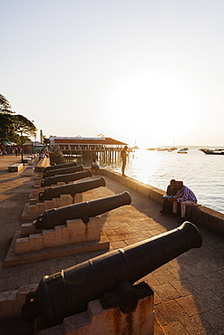Cannon on the waterfront, Stone Town, Island of Zanzibar, Tanzania, East Africa, Africa