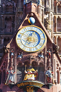 Musical clock on Frauenkirche (Church of Our Lady), Nuremberg (Nurnberg), Franconia, Bavaria, Germany, Europe