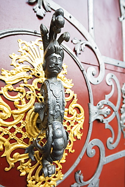 Ornate door  knob, St. Nicholas church, Old Town, Prague, Czech Republic, Europe