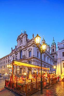 Restaurant at St. Nicholas Church, Prague, UNESCO World Heritage Site, Bohemia, Czech Republic, Europe