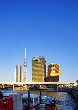 Tokyo Sky Tree Tower and Asahi beer Golden Flame (Golden Turd), Asakusa, Tokyo, Japan, Asia