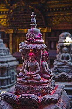 Buddha statue at Swayambunath temple, UNESCO World Heritage Site, Kathmandu, Nepal, Asia