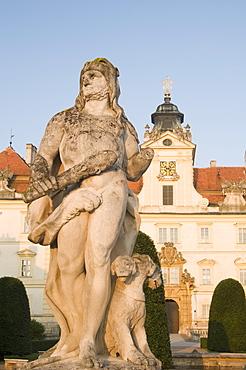 Baroque Valtice Chateau at sunrise, Valtice, Brnensko Region, Czech Republic, Europe
